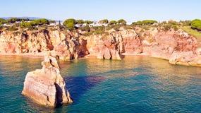 Natural rocks at Alvor in the Algarve Portugal Stock Photography