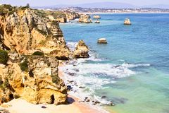 Natural rocks at Lagos in Portugal Royalty Free Stock Images