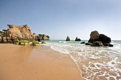 Natural rocks near Alvor in the Algarve Portuga Stock Image