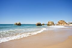 Natural rocks near Alvor in Portugal Royalty Free Stock Photo