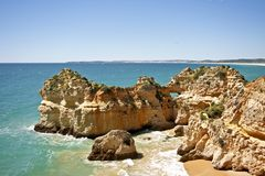 Natural rocks near Alvor in Portugal Royalty Free Stock Photography