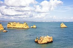Natural rocks near Lagos Portugal Royalty Free Stock Photos