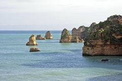 Natural rocks near Lagos Portugal Stock Photography