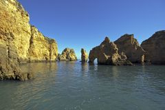 Natural rocks near Lagos in Portugal Stock Photography