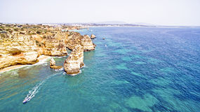 Natural rocks near Lagos in Portugal Stock Photos