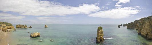 Natural rocks in the ocean near Lagos Portugal. Natural rocks in the ocean near Lagos in Portugal Stock Image