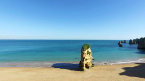 Natural rocks at Praia D'Ana in Lagos Portugal stock video footage
