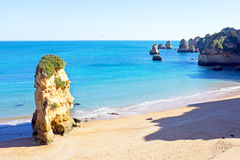 Natural rocks at Praia D'Ana in Lagos Portugal Stock Photography