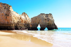 Natural rocks at Praia Tres Irmaos in Alvor Portugal Royalty Free Stock Photo