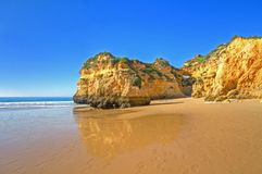 Natural rocks at Praia Tres Irmaos in Portugal Royalty Free Stock Photography