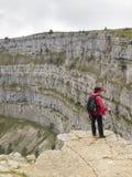 A natural rocky cirque of Creux du Van Stock Images