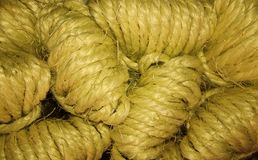 Natural rope clews stack up, close up view stock photography