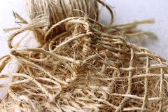 Natural rope. Hand made rope, a common rope from Mexico that shows a natural texture in a hand made nest Stock Photo