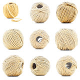 Natural rope skein, hemp roll collection isolated on white background Stock Photography