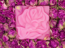 Natural rose soap Stock Images