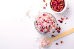 Natural Rose Sugar Scrub, Homemade Cosmetics, Spa Treatment. Natural Rose Sugar Scrub, Homemade Cosmetics, Body Spa Treatment royalty free stock images