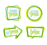 Natural rough label design and green icon set of designed Eco lettering Royalty Free Stock Photo