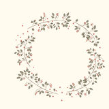 Natural round frame for text. Cute border wreath. green leaf floral elements frame. natural border in gentle colors Royalty Free Stock Photo