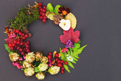 Natural Round Wreath Frame on Blackboard Background. Stock Image