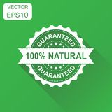 100% natural rubber stamp icon. Business concept guaranteed natu. Ral stamp pictogram. Vector illustration on green background with long shadow Royalty Free Stock Images