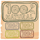 100% natural. Rubber stamp  100 pecent natural with different colors Royalty Free Stock Image