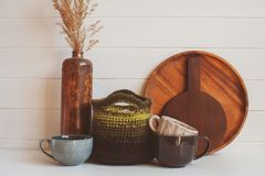 natural rustic handmade kitchenware on wooden background. royalty free stock photos