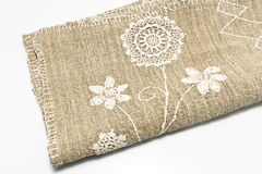 Natural rustic linen with lace Stock Photo