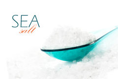 Natural salt of Dead Sea in colored spoon on white background cl Royalty Free Stock Images