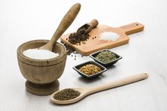 Salt and spices. Natural salt in wooden pestle with other variety of spices on table stock photos
