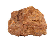 Natural sample of earthy mass limonite - one of the important iron ore and pigment yellow ochre on white background. Natural specimen of limonite - a mixture of stock images