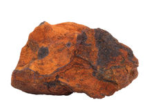 Natural sample of ferriferous sandstone iron ore on white background Stock Photo