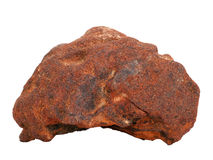 Natural sample of ferriferous sandstone iron ore on white background Royalty Free Stock Photography