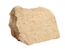 Natural sample of foraminiferal ooze limestone - organogenic sedimentary rock, on white background. Natural specimen of foraminiferal ooze limestone stock photography