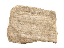 Natural sample of layered sandy limestone - a common sedimentary rock on white background. A natural specimen of layered sandy limestone - a common sedimentary stock images