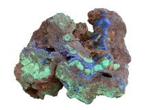 Natural sample of Malachite green and  Azurite blue minerals in the limonite-goethite rock on white background. Natural specimen of Malachite green and Azurite Stock Images
