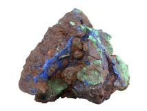 Natural sample of Malachite green and  Azurite blue minerals in the limonite-goethite rock on white background. Natural specimen of Malachite green and Azurite Stock Photos