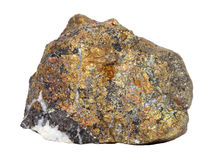 Natural sample of mineral chalcopyrite – an important copper ore on white background Royalty Free Stock Image
