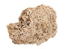 Natural sample of Travertine rock on white background. Natural specimen of Travertine limestone tufa - porous cellular sedimentary rock formed by deposition of royalty free stock image