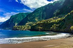 Natural sand beaches of Cais do Seixal, Madeira island stock image