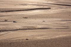 Natural sand patterns in beach. At low tide royalty free stock image
