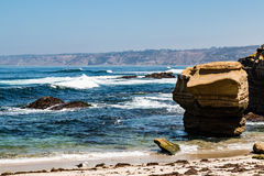Natural Sandstone Rock Formations in La Jolla, California Stock Photo