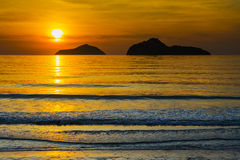 Natural scene at Ao Manow beach in sunrise time. Stock Photo