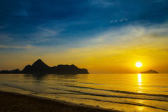 Natural scene at Ao Manow beach in sunrise time. Royalty Free Stock Images