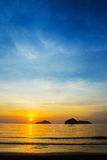 Natural scene at Ao Manow beach in sunrise time. Royalty Free Stock Photography