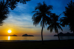 Natural scene at Ao Manow beach in sunrise time. Stock Images