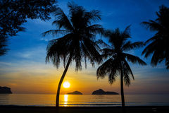 Natural scene at Ao Manow beach in sunrise time. Royalty Free Stock Photo