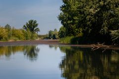 Reflections on the beautiful lake, fishermans canal with reflections stock photography