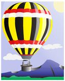 Natural scenery with mountains and balloons royalty free illustration
