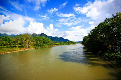 Natural scenic view of river at Vang Vieng Royalty Free Stock Photos