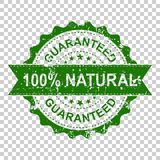 100% natural scratch grunge rubber stamp. Vector illustration on. Isolated transparent background. Business concept guaranteed natural stamp pictogram royalty free illustration